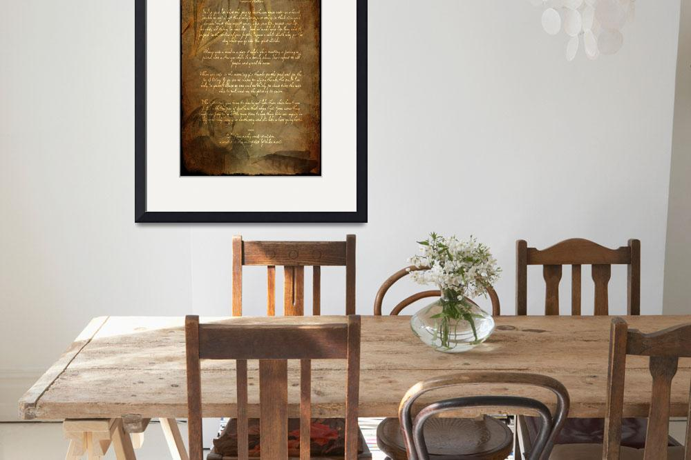 """Framed Prints Tecumseh Poem - Act of Valor Movie&quot  (2012) by WaynePhotoGuy"