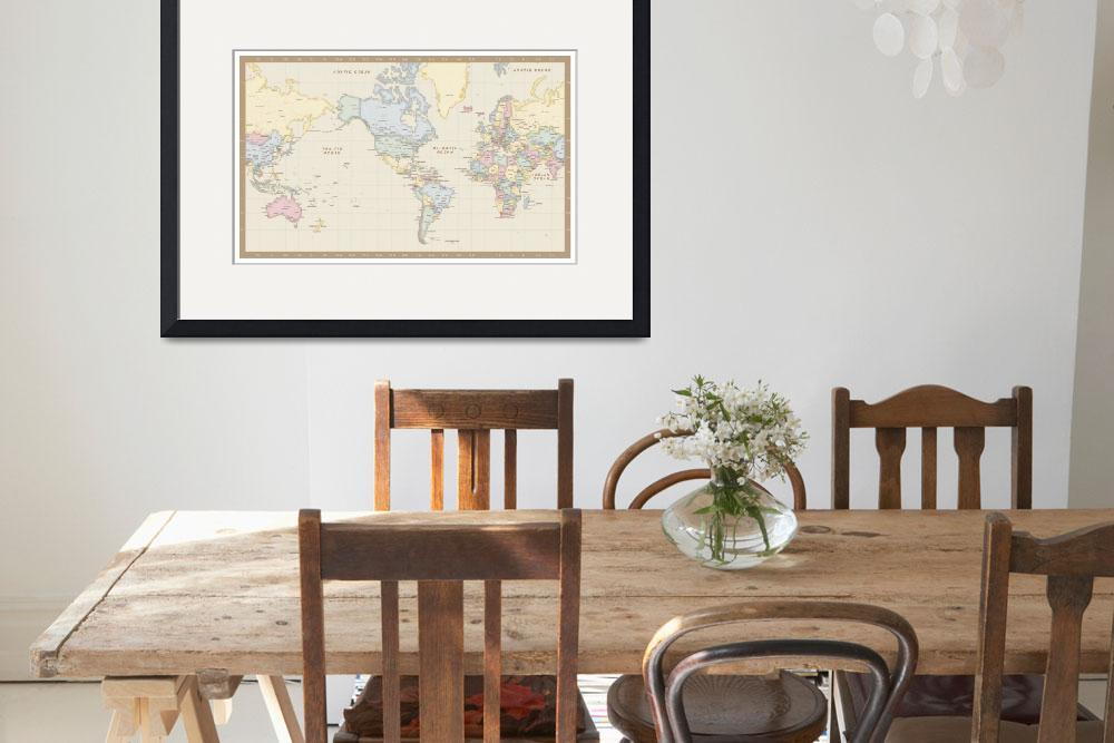 """Antique Mercator World Map&quot  (2010) by Custom-Maps"