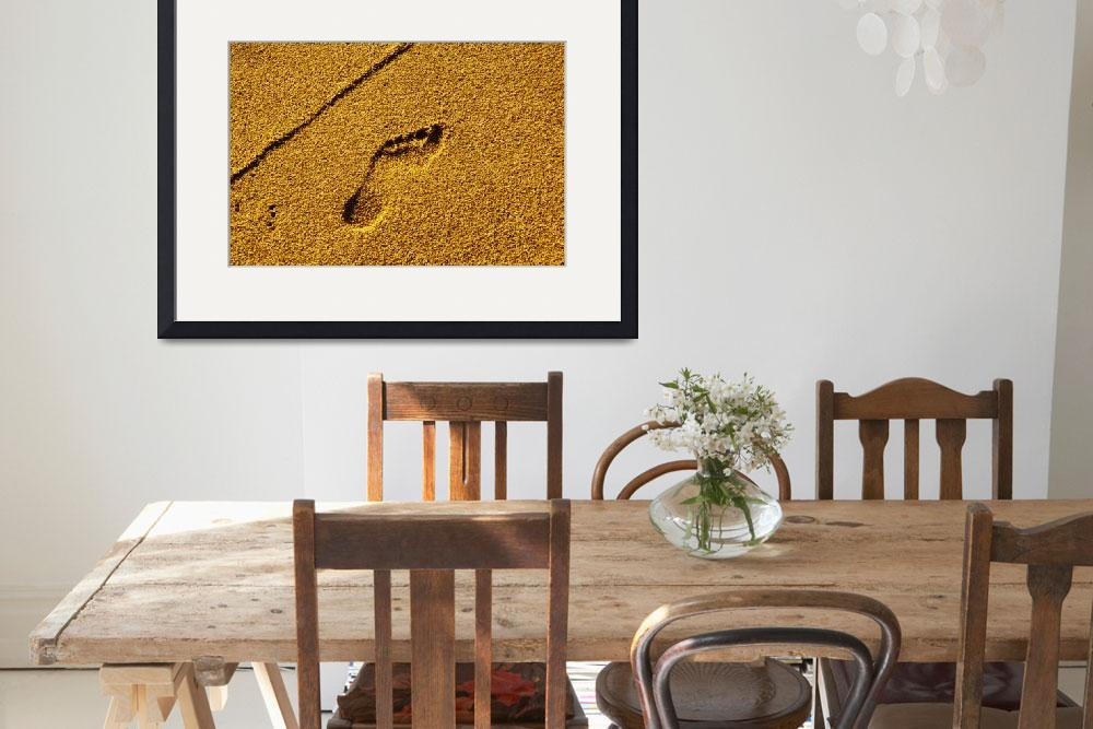 """Footprint in golden sand on beach in Thailand&quot  (2000) by ingojez"