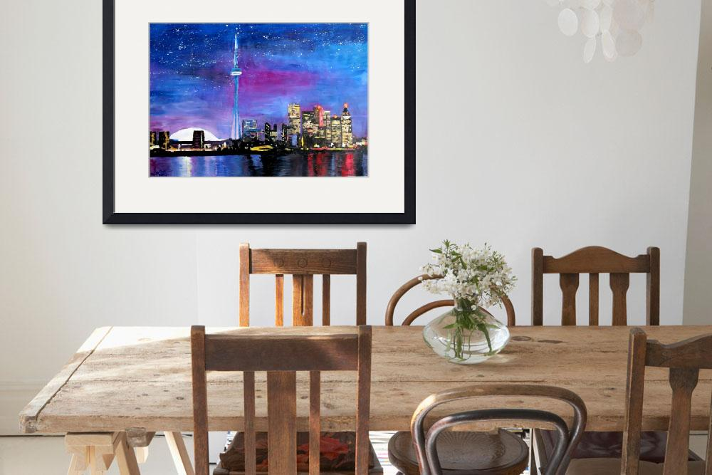"""Toronto Skyline at Night with CN Tower&quot  (2013) by arthop77"
