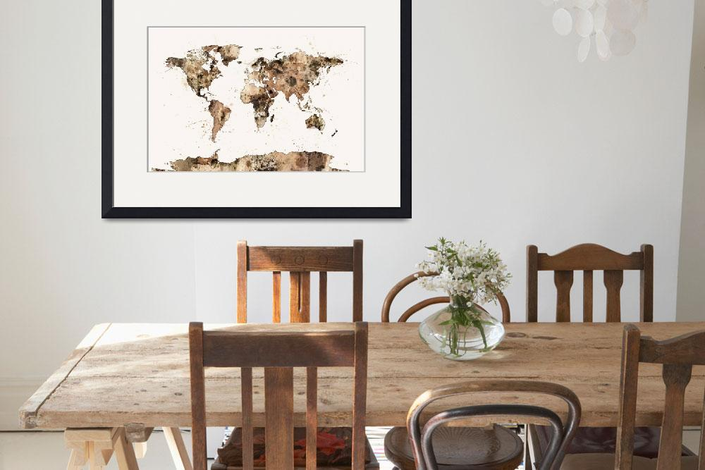"""Map of the World Map Sepia Watercolor&quot  (2014) by ModernArtPrints"