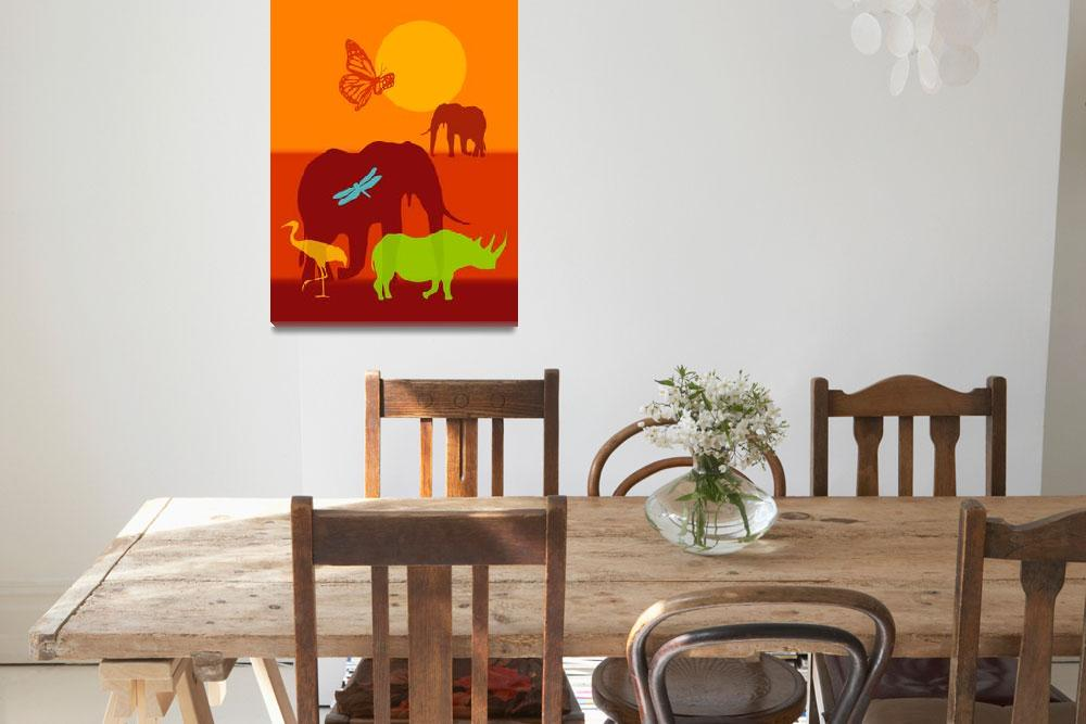 """Wild African Sunset (elephants, rhino, butterfly)&quot  by DezineZone"