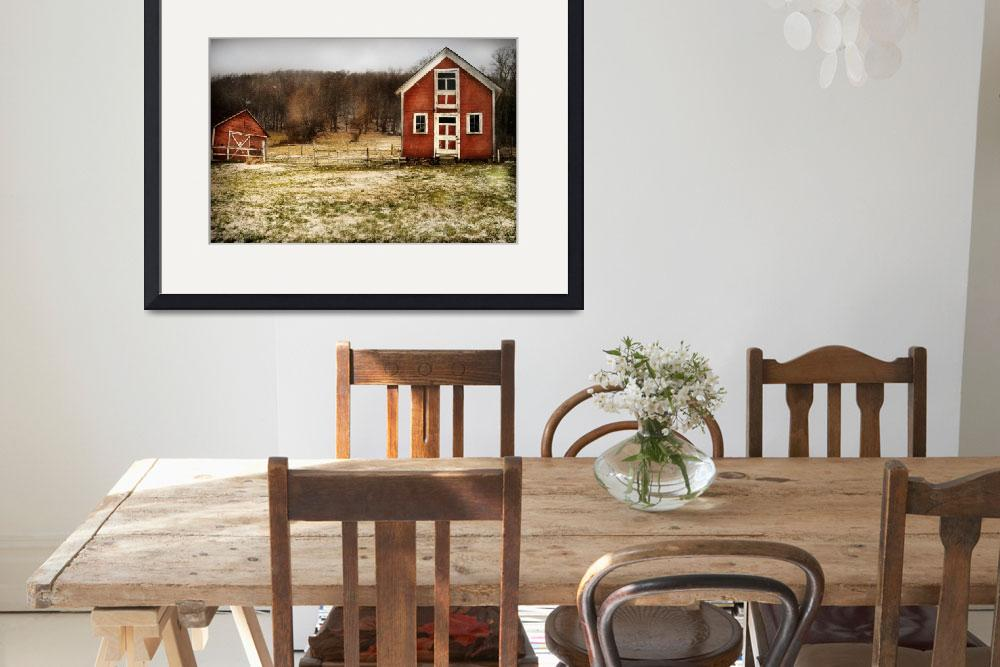 """Red Farmhouse and Barn in Snowy Field Photographic&quot  by cattanphoto"