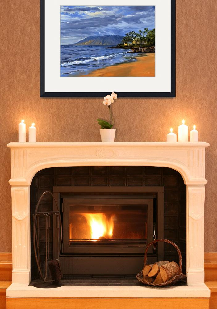 """Hawaii Beach Sunset Painting With Ocean Waves At W&quot  (2008) by KeatingArt"