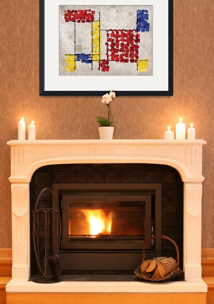 """Mondrian Inspired Squares&quot  (2010) by ModernArtPrints"