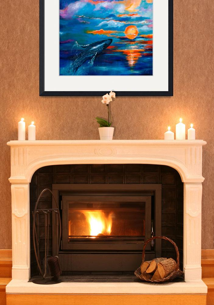 """Whale Sunset Square Original Painting by Ginette&quot  (2010) by GinetteCallaway"