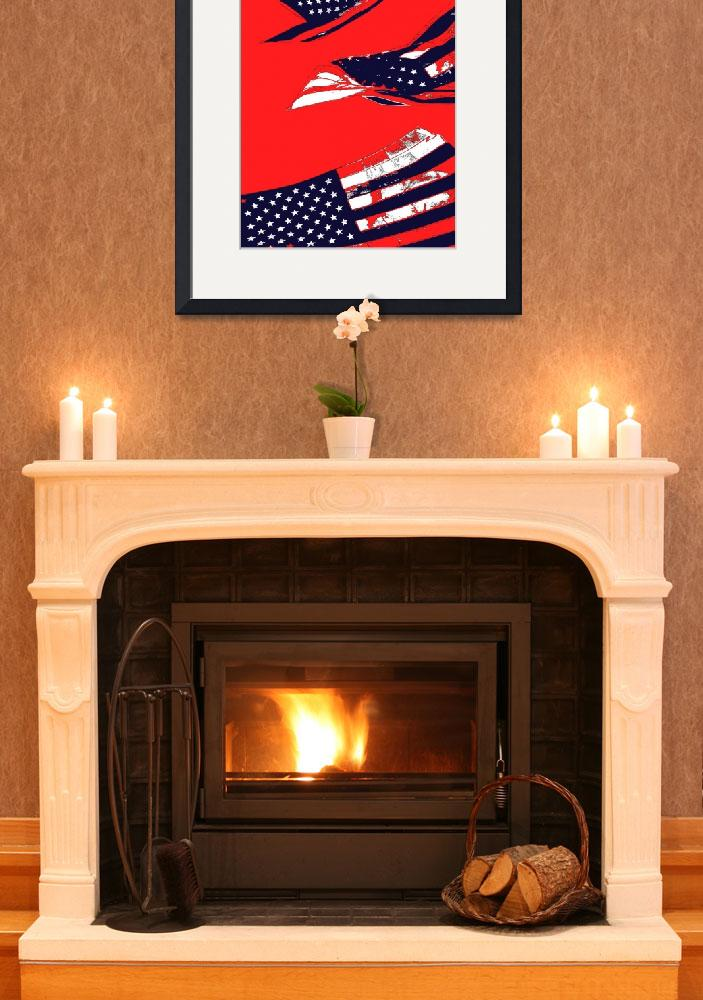 """Dynamic Pop Painting of a waving American Flag&quot  (2005) by studiodestruct"