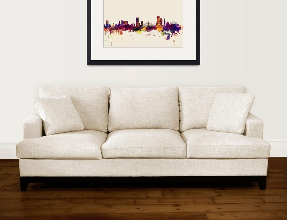 """Liege Belgium Skyline&quot  (2015) by ModernArtPrints"