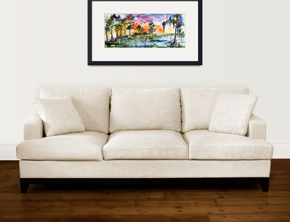 """Wetland Landscape Spoonbill Panoramic Watercolor&quot  (2012) by GinetteCallaway"