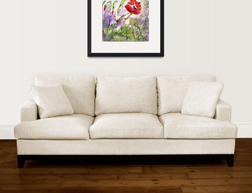 """Poppy Flowers and Bees Watercolor by Ginette&quot  (2011) by GinetteCallaway"