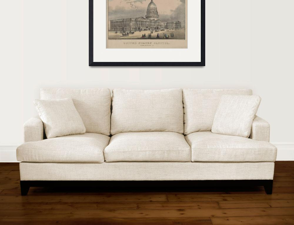 """Vintage US Capitol Building Illustration (1872)&quot  by Alleycatshirts"
