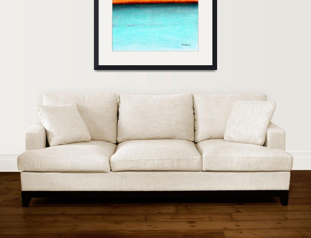 """Pastel Caribbean Sunrise Seascape Painting 1c&quot  (2015) by Ricardos"