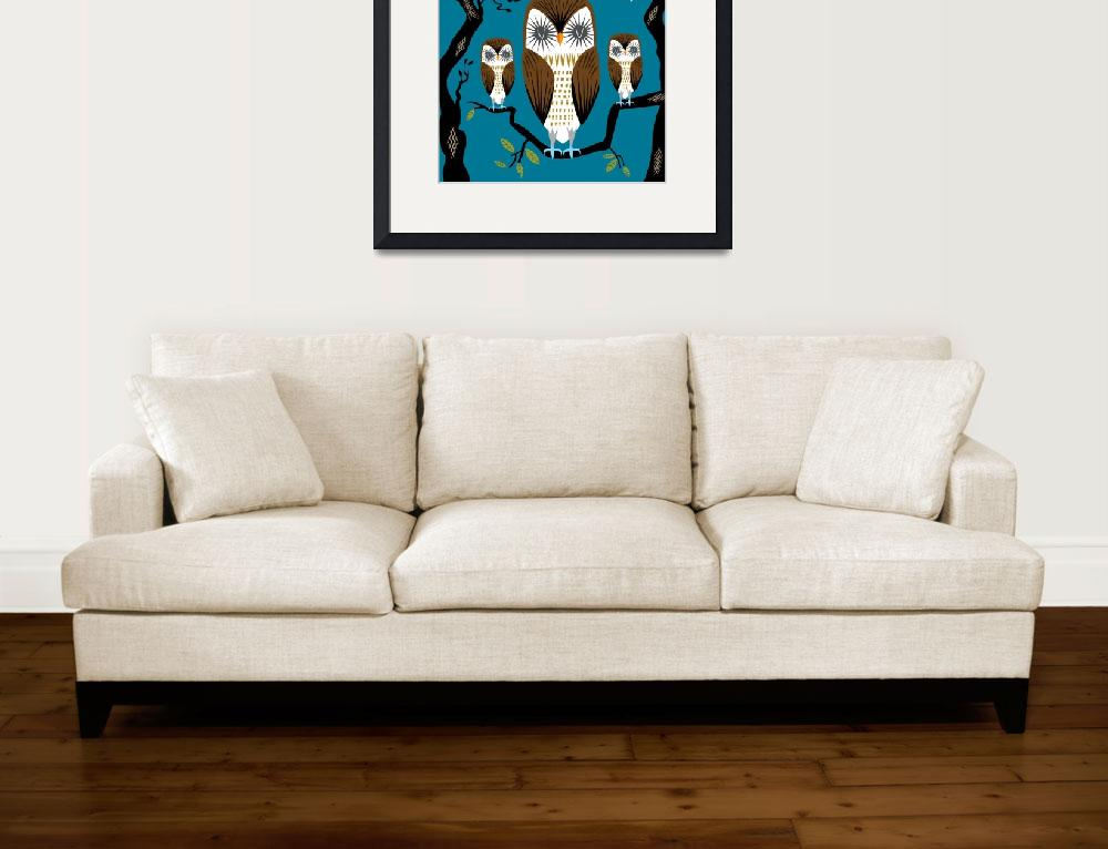 """Three Lazy Owls - Limited Edition Print&quot  (2010) by iotaillustration"