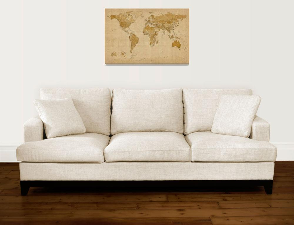 """World Map Antique Style&quot  (2011) by ModernArtPrints"