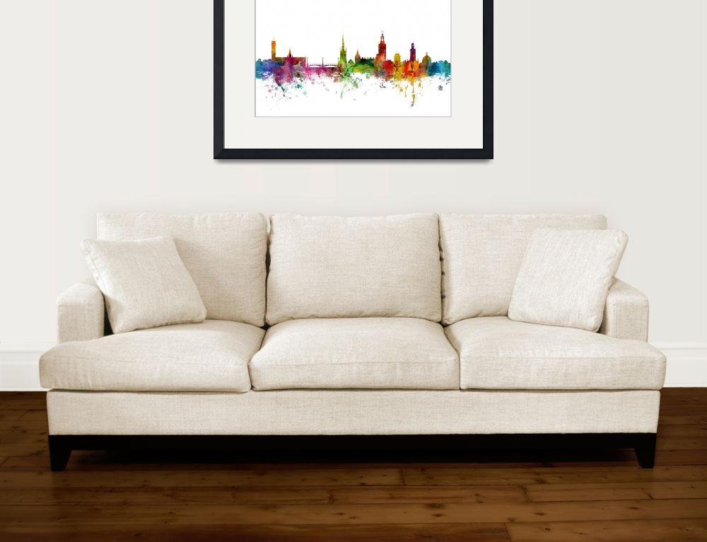 """Stockholm Sweden Skyline&quot  (2014) by ModernArtPrints"