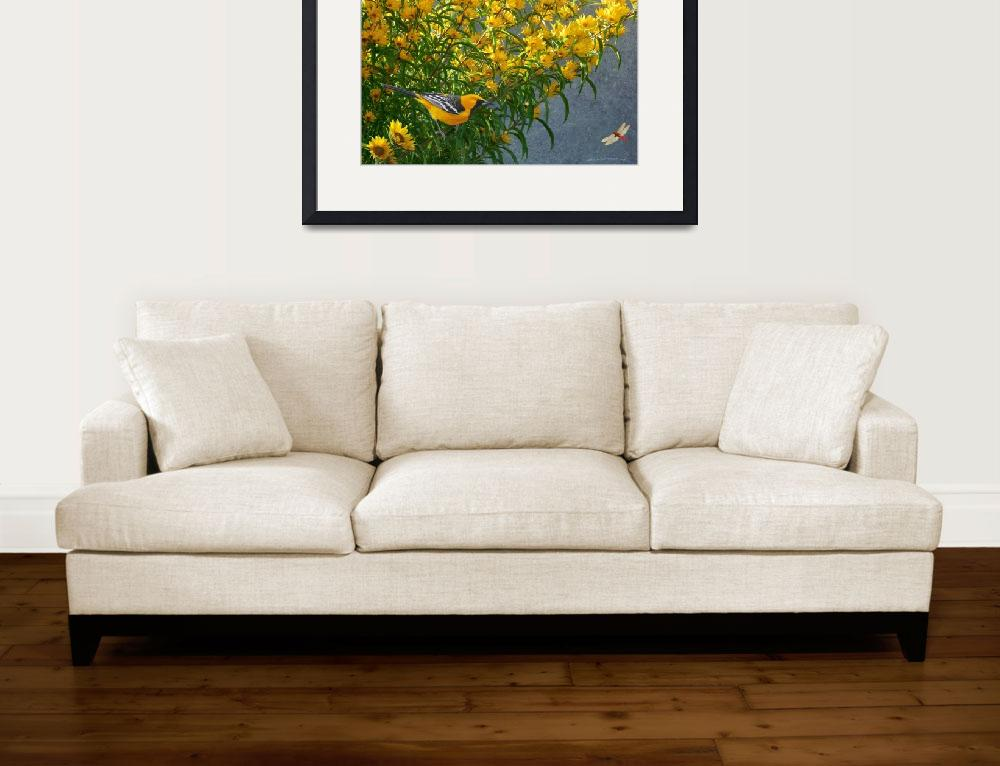 """yellow flowers hooded oriole&quot  (2013) by rchristophervest"