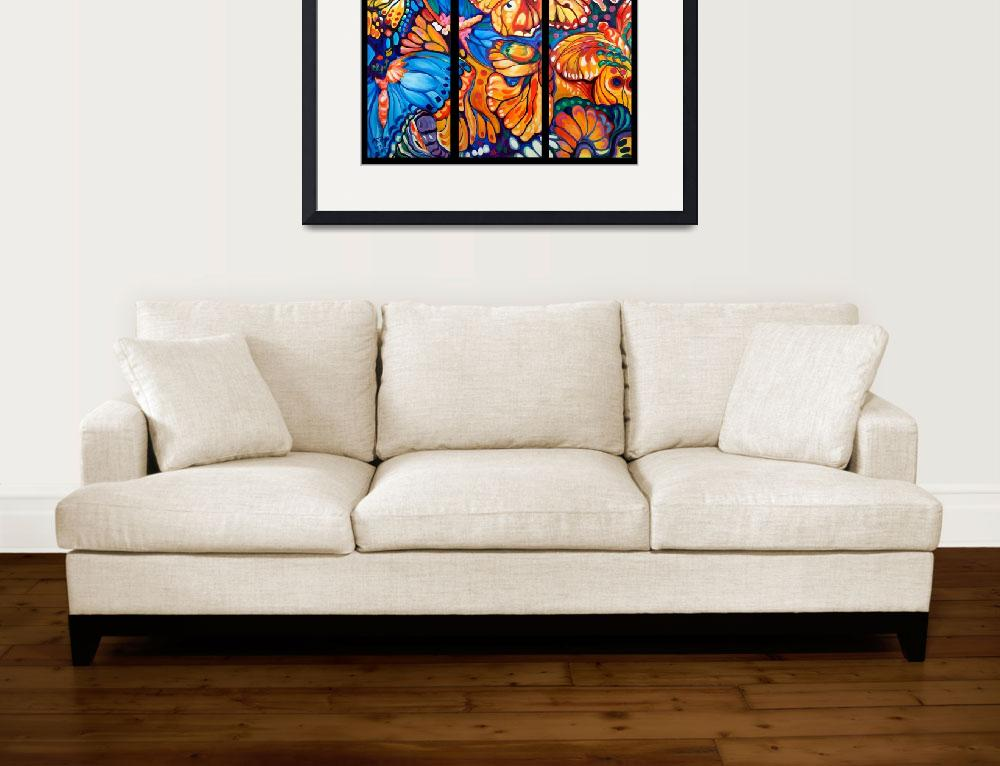 """BUTTERFLY ABSTRACT TRIPTYCH&quot  (2013) by MBaldwinFineArt2006"