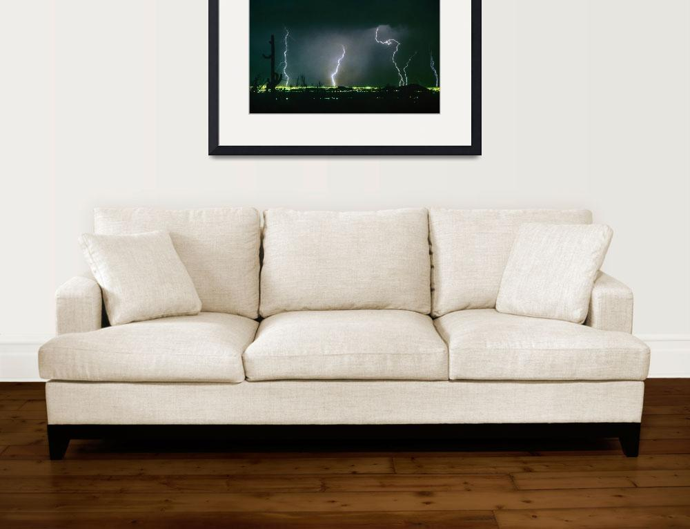 """View From Troon Lightning Strikes City&quot  (1996) by lightningman"