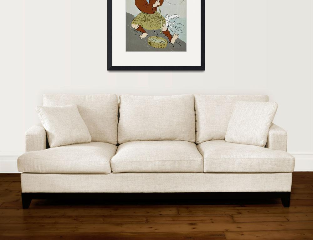 """Japanese fisherman fishing catching trout fish&quot  (2011) by patrimonio"
