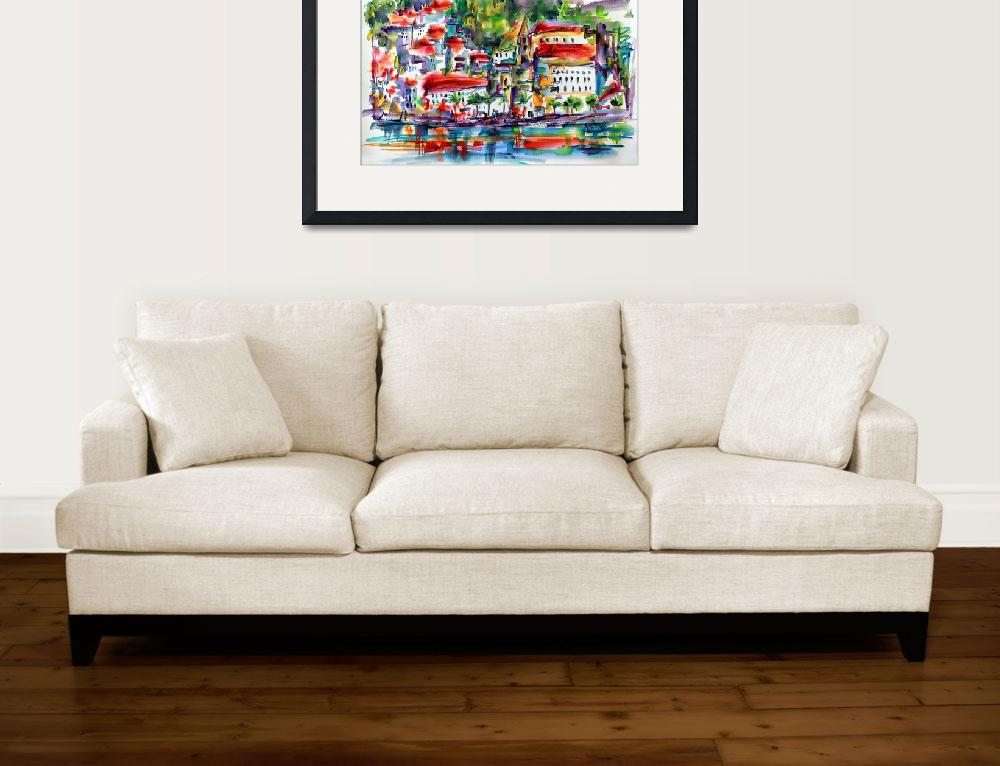 """Modern Amalfi Italy Watercolor Art Print&quot  (2016) by GinetteCallaway"