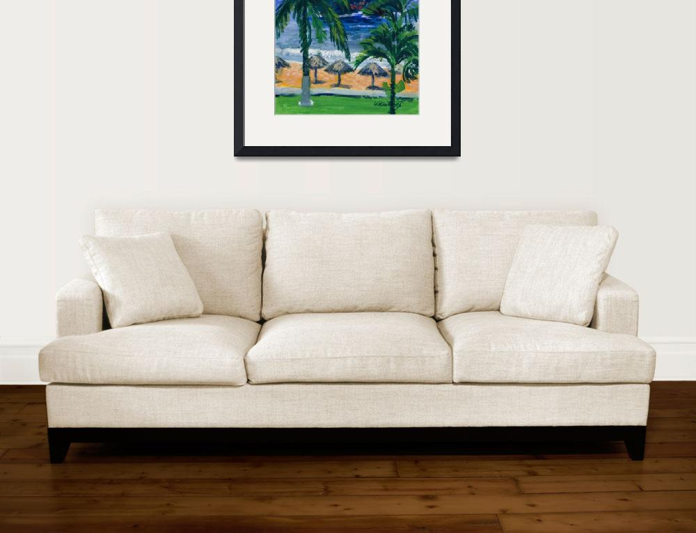 """Beach, Palms and Palapas in Huatulco Mexico Print&quot  (1998) by KeatingArt"