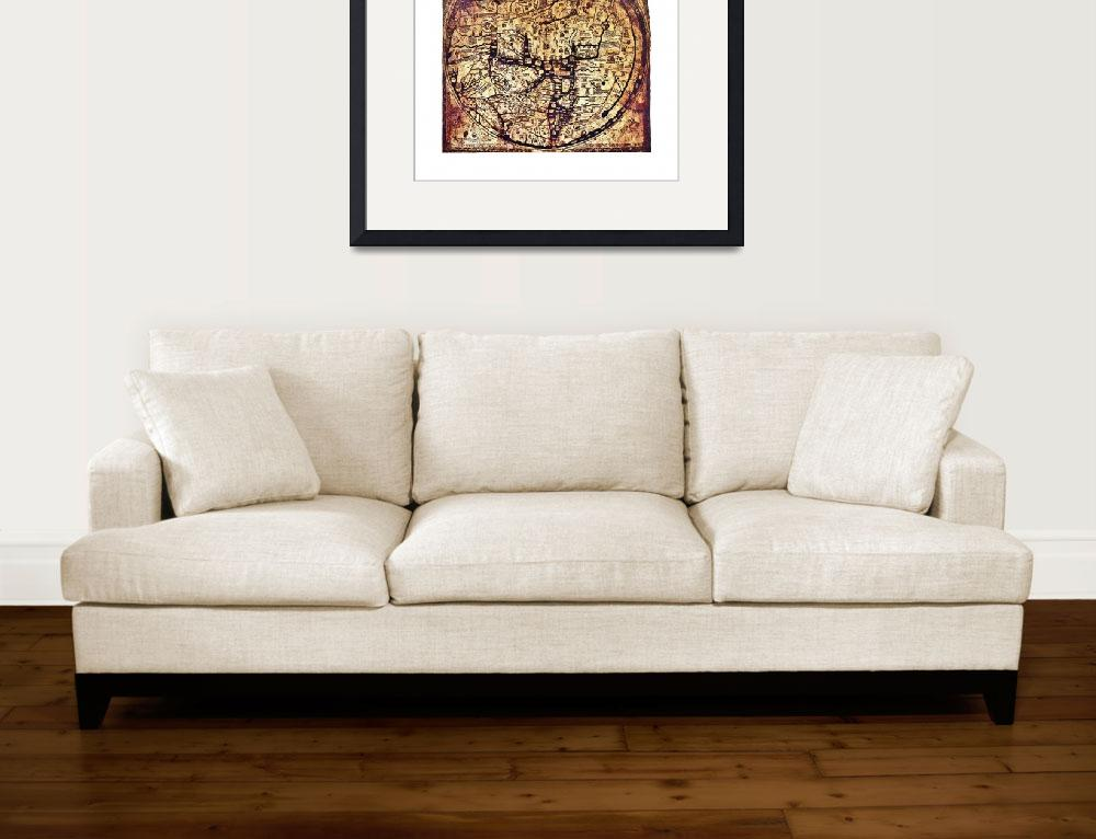 """Hereford Mappa Mundi with medium white border&quot  (2013) by TheNorthernTerritory"