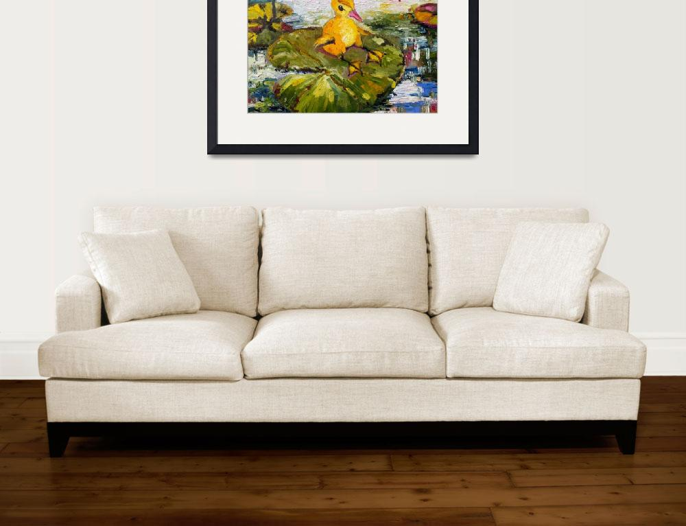 """Baby Duck on Lily Pad Lazy Summer&quot  (2014) by GinetteCallaway"