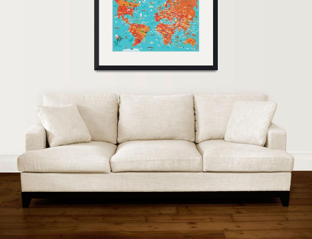 """World Map by Nate Padavick&quot  by TheyDrawandCook"