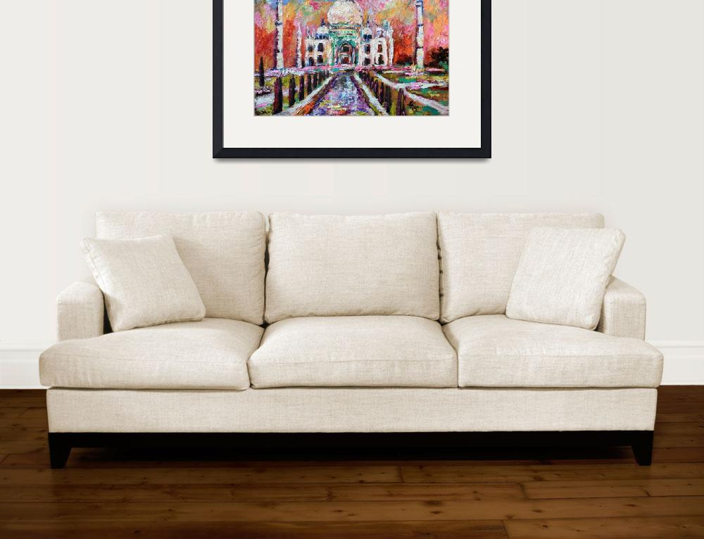"""Taj Mahal India Temple Impressionist Oil Painting&quot  (2015) by GinetteCallaway"
