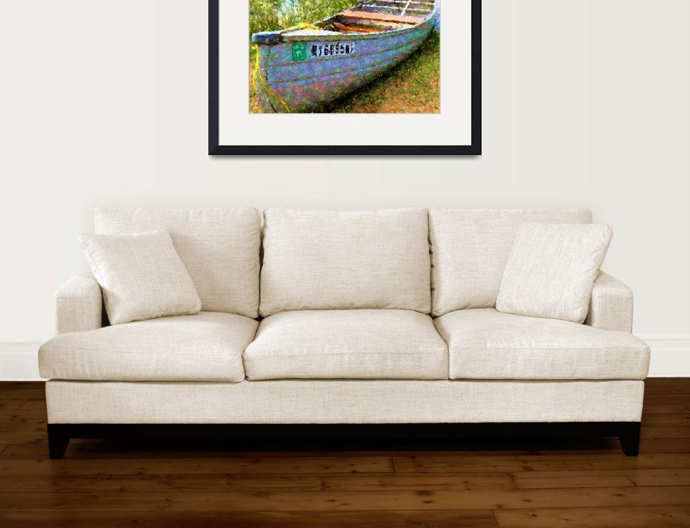 """Boat on Summer Pond&quot  (2012) by SandraGouldFord"