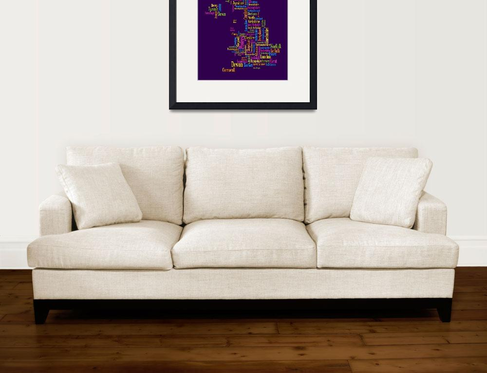 """Great Britain UK County Text Map&quot  (2011) by ModernArtPrints"