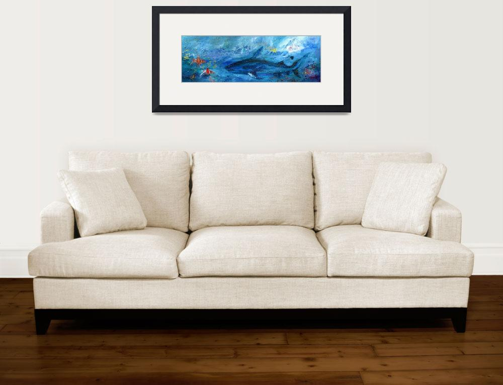 """Abstract Marine Life Shark and Corel Reef Fish&quot  (2012) by GinetteCallaway"