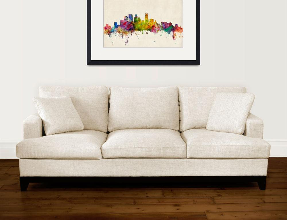 """Minneapolis Minnesota Skyline&quot  (2013) by ModernArtPrints"
