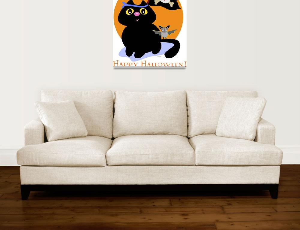 """Halloween Cat with Pirate Skull Flag and Bat&quot  (2009) by theblueplanet"