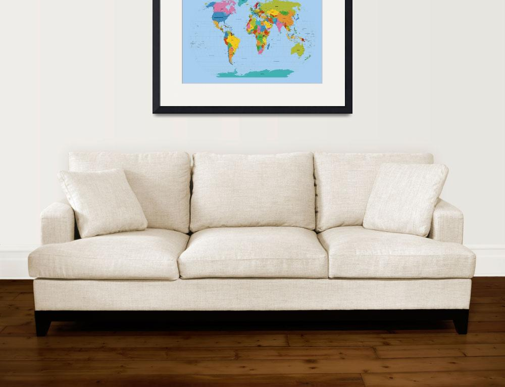 """World Map Bright&quot  (2011) by ModernArtPrints"