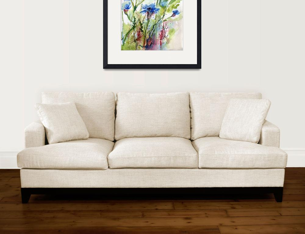 """Cornflowers Wildflower Watercolor by Ginette&quot  (2011) by GinetteCallaway"