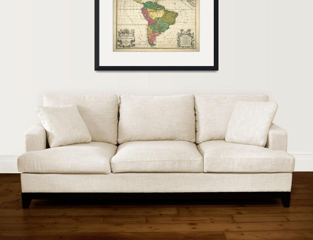 """Vintage Map of South America (1691)&quot  by Alleycatshirts"