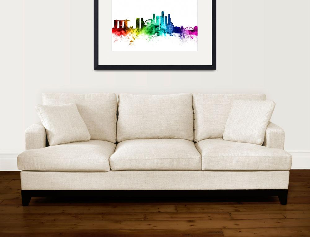 """Singapore Skyline&quot  (2017) by ModernArtPrints"