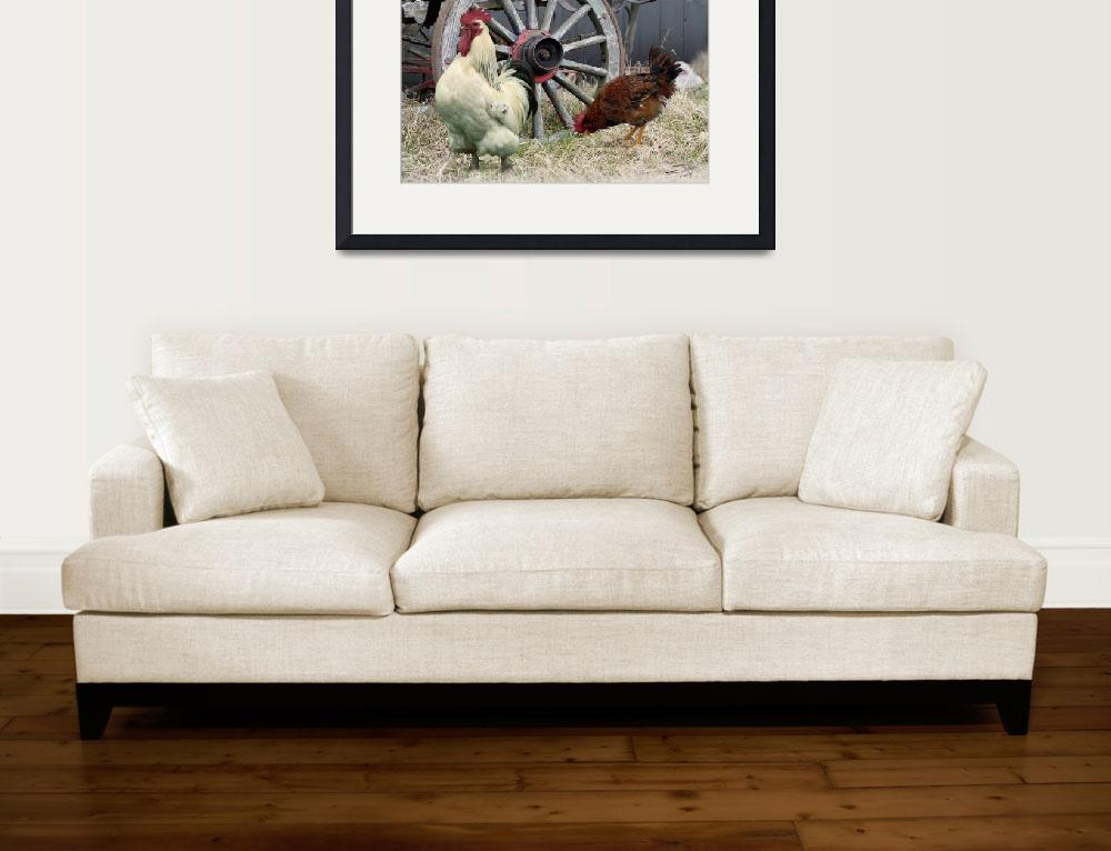 """Chickens and an Old Wagon Wheel&quot  (2012) by spadecaller"