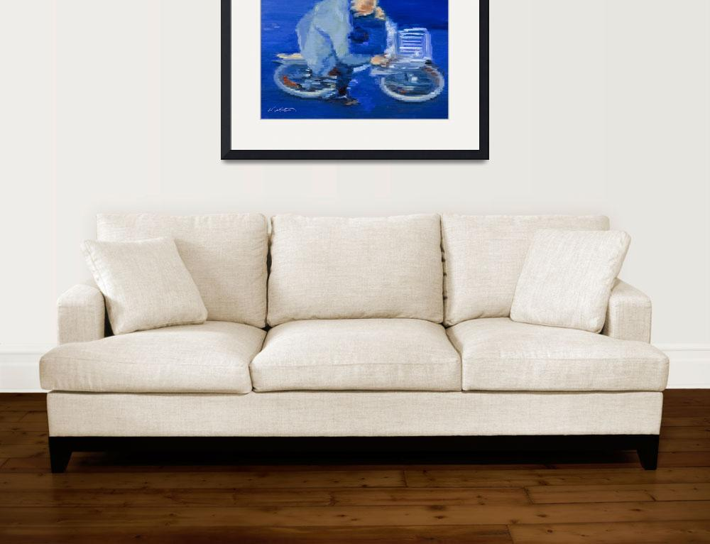 """Old Man Cycling In Paris Fine Art Giclee Print&quot  (2009) by KeatingArt"
