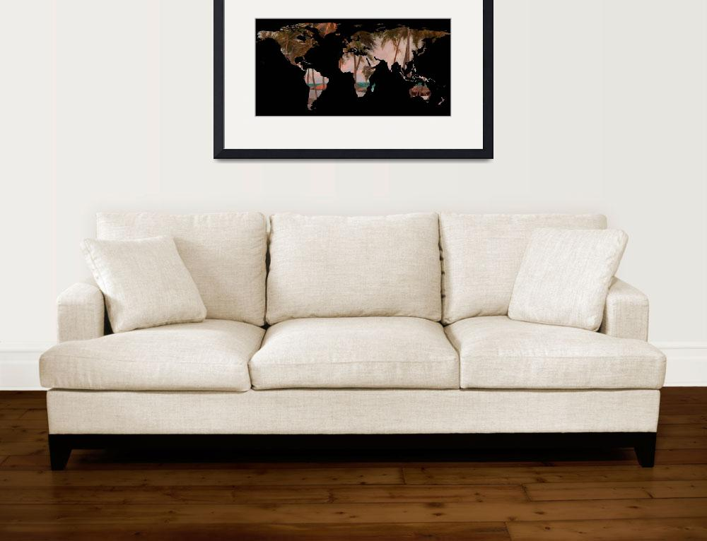 """World Map Silhouette - Tropical Beach & Palms&quot  by Alleycatshirts"