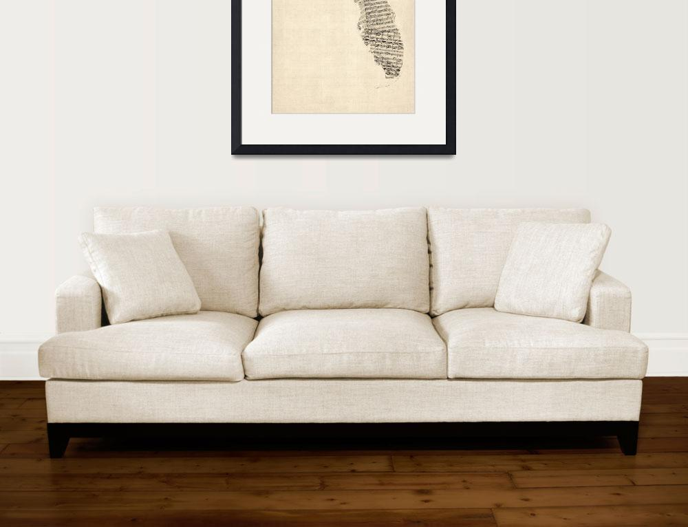"""Old Sheet Music Map of Florida&quot  by ModernArtPrints"