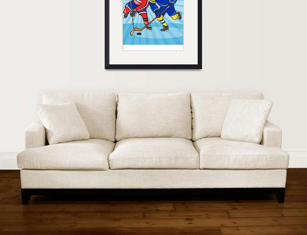 """Ice Hockey Player Front With Stick Retro&quot  (2014) by patrimonio"