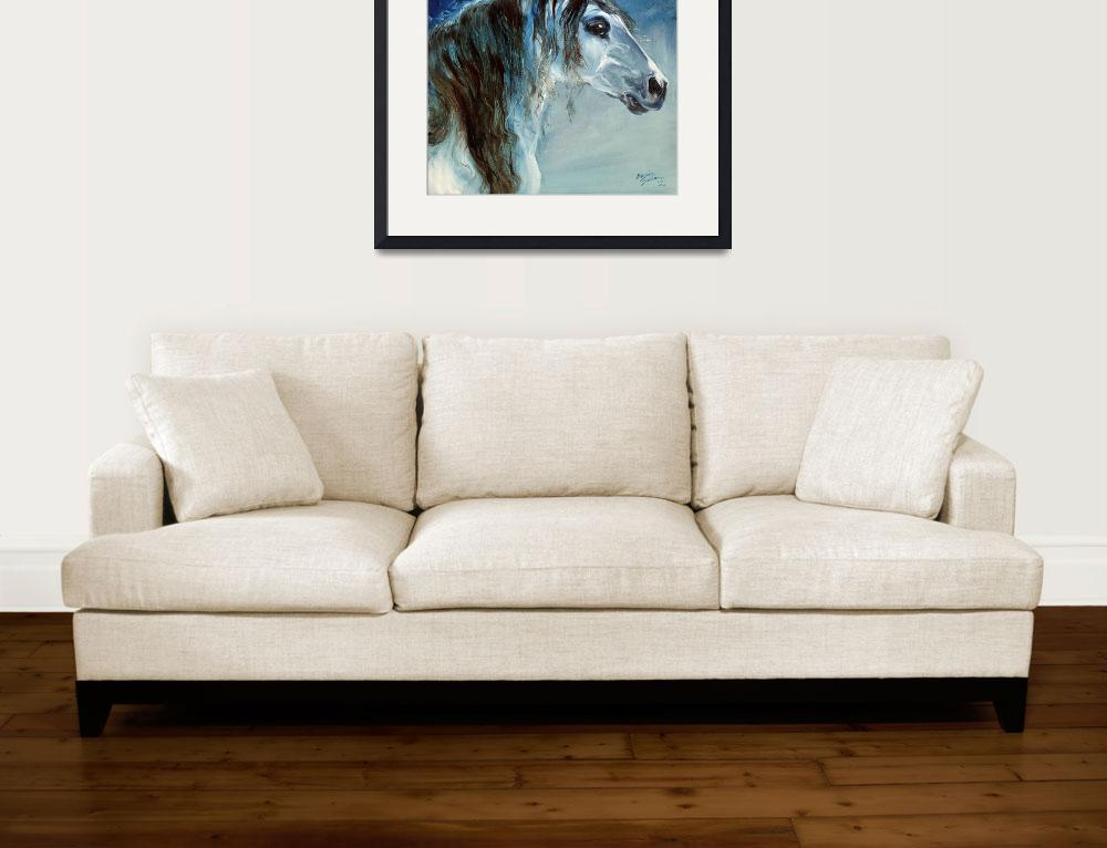 """BLUE ROAN MUSTANG&quot  (2010) by MBaldwinFineArt2006"