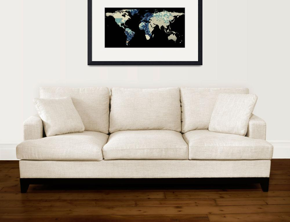 """World Map Silhouette - The Great Wave Off Kanagawa&quot  by Alleycatshirts"