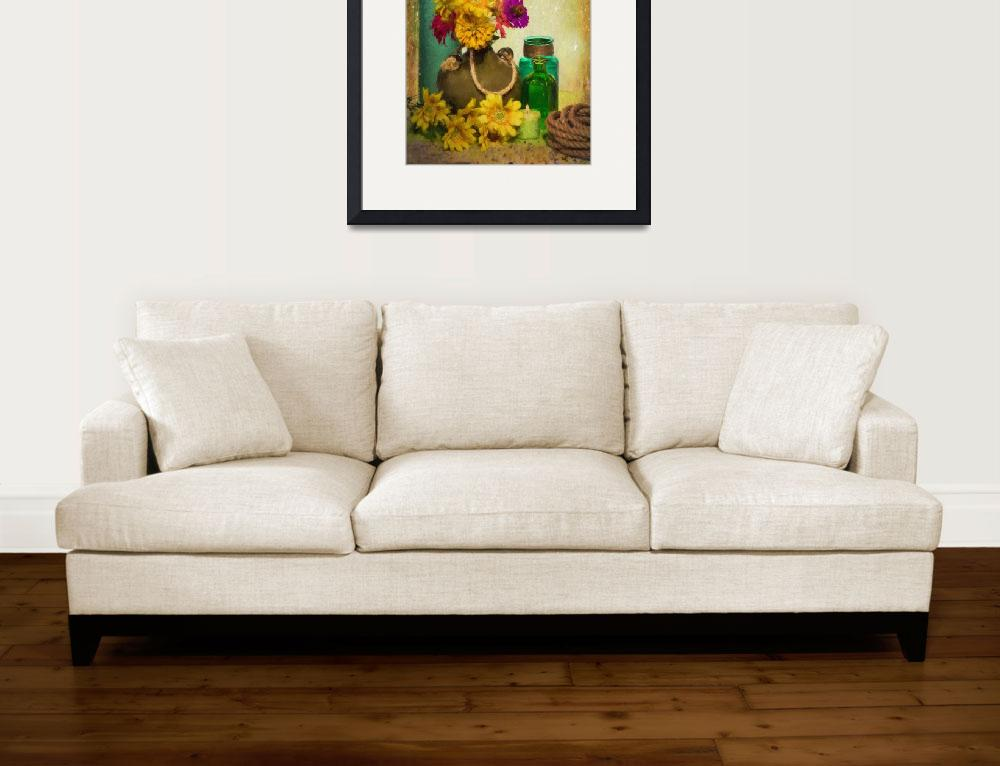 """7794PS Yellow Flower-Glass Arrangement Painting&quot  (2015) by fineartbyChristy"
