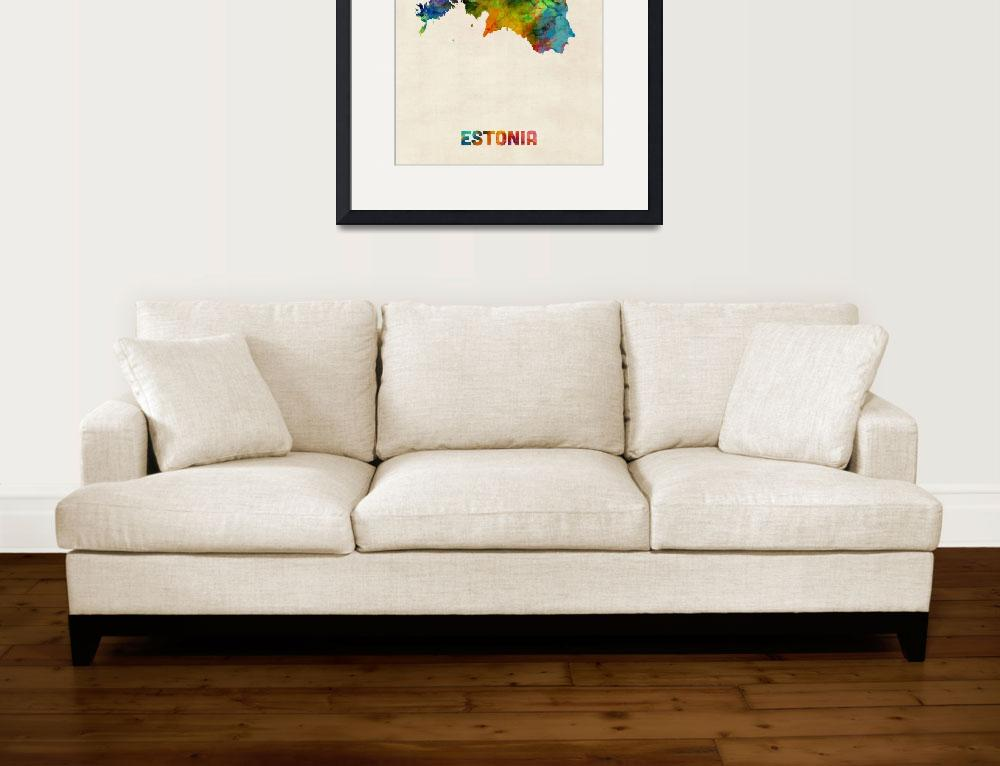 """Estonia Watercolor Map&quot  (2015) by ModernArtPrints"