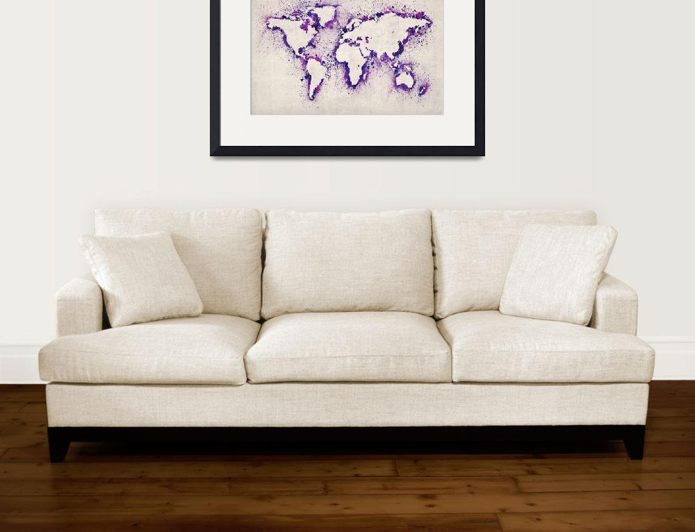 """Map of the World Paint Splashes&quot  (2012) by ModernArtPrints"