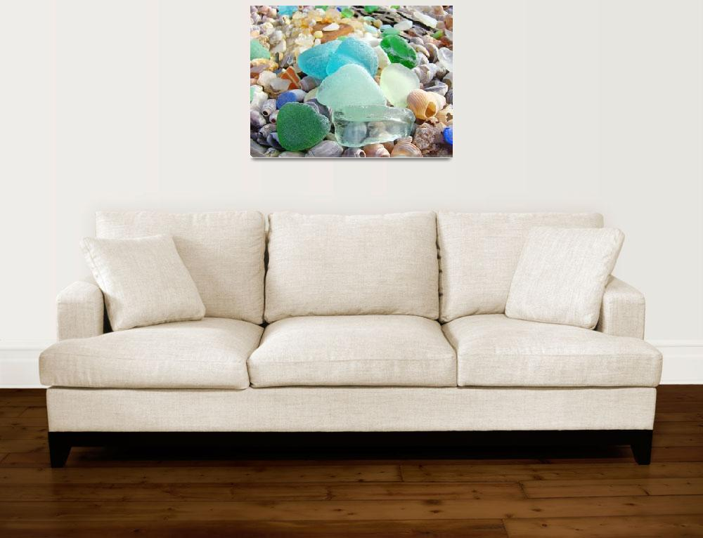 """SEAGLASS art prints Blue Sea Glass Beach Coastal&quot  (2013) by BasleeTroutman"