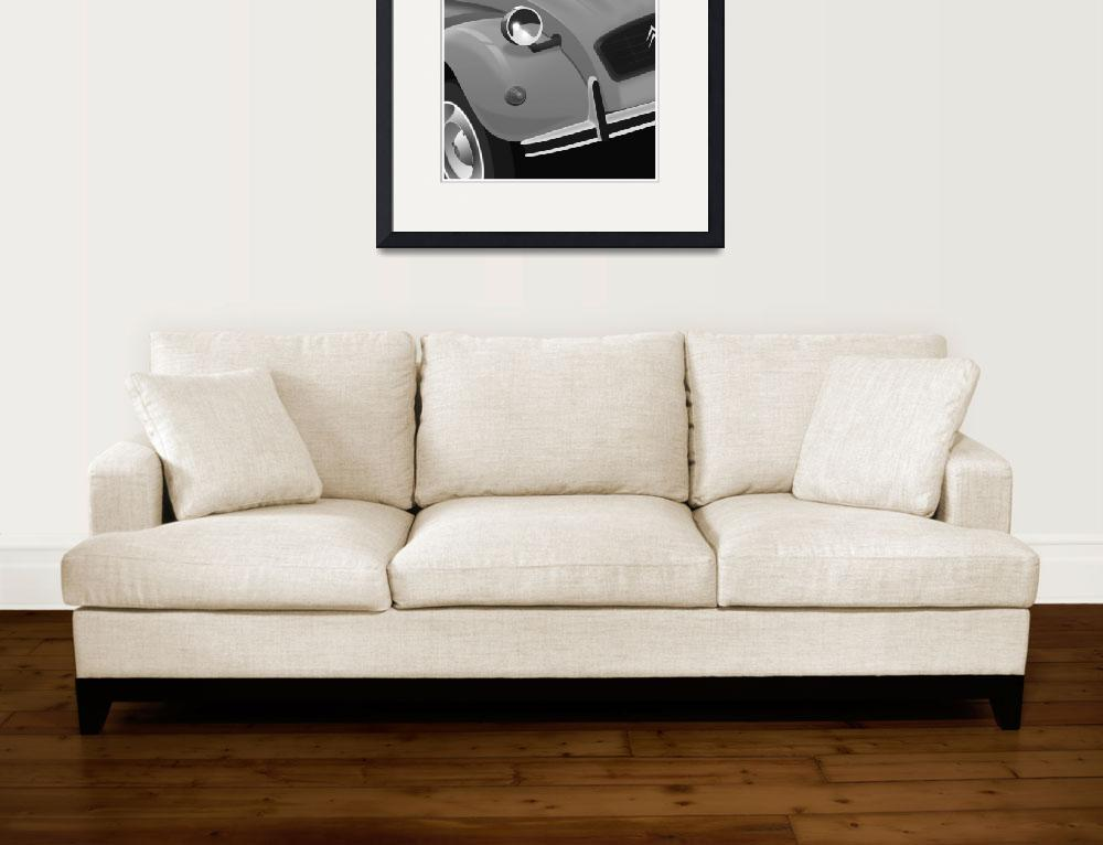 """Black and White Citroen 2cv&quot  (2010) by Auto-Graphics"